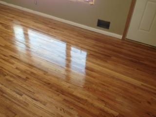 Dark red oak hardwood floors refinished
